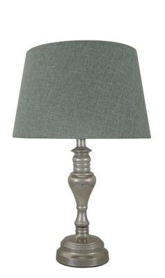 Stenham Chrome Table Lamp With 15 Inch Duck Egg Linen Shade