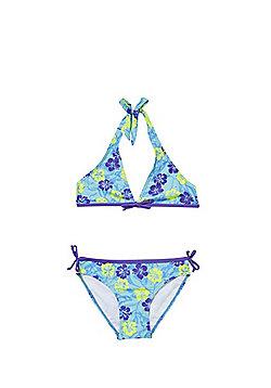 Babeskin Hawaiian Print UPF50+ Halterneck Bikini Set - Blue Multi