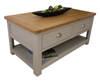 Aspen Painted Sage Grey Oak Coffee Table With Storage / Oak 2 Drawer Coffee Table