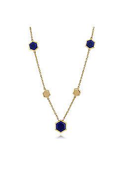 Gemondo 925 Gold Plated Silver 5.45ct Lapis Lazuli Hexagonal Prism Necklace 45cm