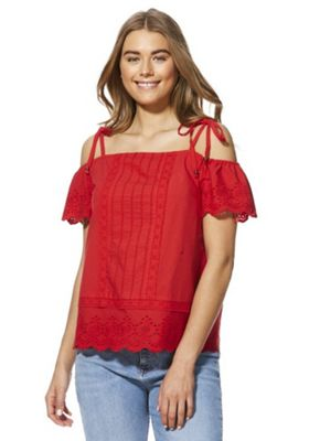 F&F Schiffli Lace Cold Shoulder Top Red 6