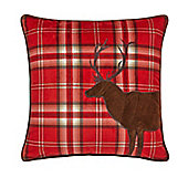 Catherine Lansfield Home Cosy Corner Tartan Stag Red Cushion Cover