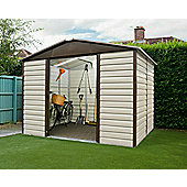 Yardmaster 9'4x7'5 Metal Shiplap Shed with floor support frame - light brown