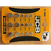JCB Watch Batteries - 15 Mixed Pack - 5 Most Popular Sizes