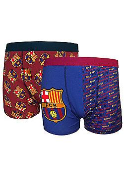 FC Barcelona Mens Boxer Shorts 2 Pack - Blue