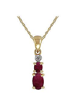 Gemondo 9ct Yellow Gold 0.78ct Natural Ruby & Diamond Pendant on Chain