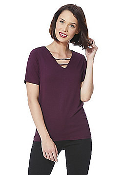 F&F Faux Pearl Embellished T-Shirt - Berry