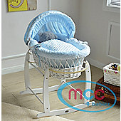 Wicker Moses Basket With Mattress, Cover and Rocking Stand (Blue)