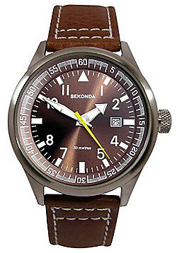 Sekonda Gents Brown Leather Strap Watch 3882