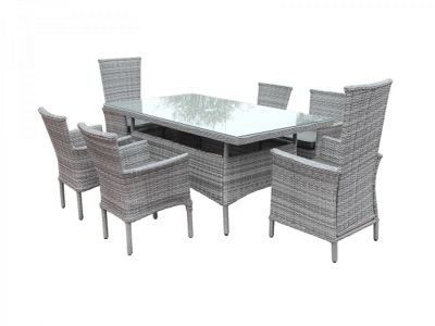 Cambridge 2 Reclining & 4 Stackable Chairs and Large Rectangular Dining Table Set in Grey