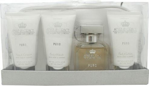 Style & Grace Puro Travel Essentials Gift Set 50ml EDP + 70ml Body Wash + 70ml Body Lotion + 70ml Hand Cream + Travel Bag