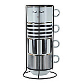 Miss Etoile Mugs Stackable Set of 4 in Caddy in Monochrome
