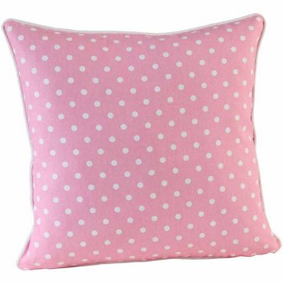 Homescapes Cotton Plain Pink and Polka Dots Cushion Cover, 60 x 60 cm