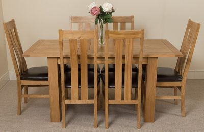 Hampton Extending Kitchen Solid Oak Dining Table and 6 Solid Oak Leather Chairs