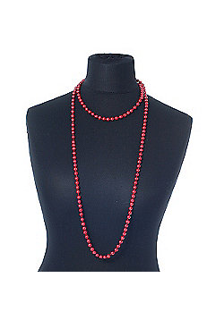 Long Red Glass Bead Necklace - 140cm Length/ 8mm
