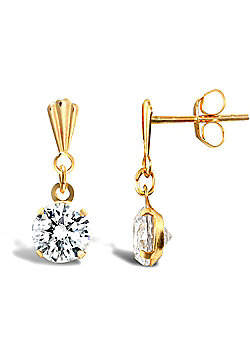 Ladies 9ct Gold White Round Brilliant Cubic Zirconia Solitaire Stud Earrings