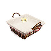 Woodluv Square Wicker Hamper Basket With White Lining