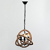 Sisal 3 Way LED Rope Knot Chandelier with Vintage Bulbs
