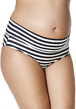 F&F Striped Fold-Over Maternity Bikini Briefs - Blue