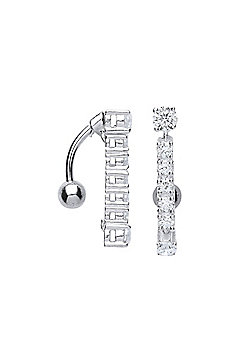 Surgical Steel Round Brilliant Cubic Zirconia Eternity Drop Belly Bar With Silver Ball
