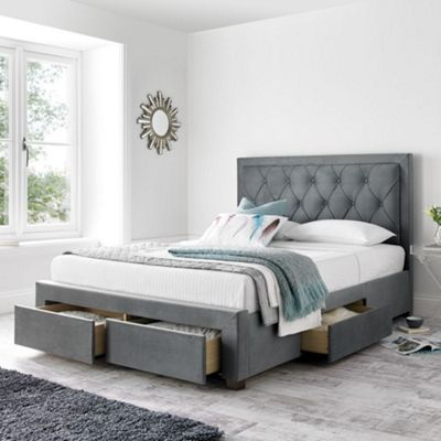 Happy Beds Woodbury Velvet Fabric 4 Drawers Storage Bed with Orthopaedic Mattress - Grey - 5ft King