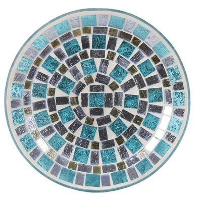 Aroma Blue Mirrored Candle Plate