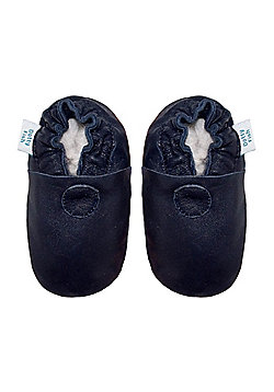 Dotty Fish Soft Leather Baby Shoe - Plain Navy - Navy
