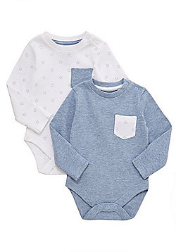 F&F 2 Pack of Star Print Long Sleeve Bodysuits - Blue