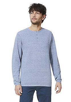 F&F Grandad Collar Jumper - Denim blue
