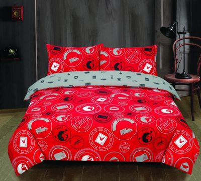 London To Paris Post 'Royal Red' Reversible Rotary Double Bed Duvet Quilt Cover Set
