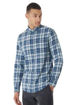 F&F Button Down Collar Checked Long Sleeve Shirt Navy/Cream S