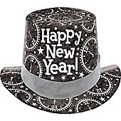 New Year Prismatic Card Top Hat - Black