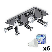 Consul 6 Way LED Ceiling Spotlight, Black Chrome & Daylight GU10 Bulbs