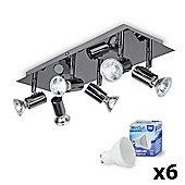 Consul 6 Way LED Ceiling Spotlight, Black Chrome & Daylight GU10 Bulbs