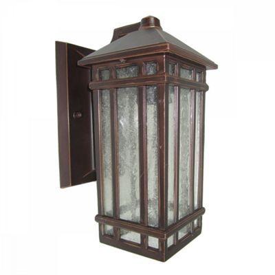 Old Bronze Effect Wall Mounted Lantern - 1 x 100W E27