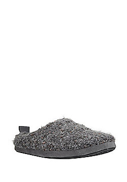 F&F Boucle Closed Back Mule Slippers - Grey