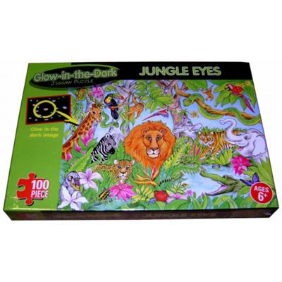 Glow In the Dark 'Jungle Eyes' 100 Piece Jigsaw Puzzle Game