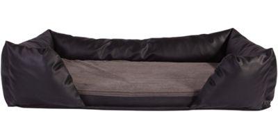 Silentnight Ultra Grade Memory Foam Dog Bed & Bolster Set - Faux Leather Black - Medium