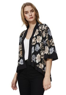 Mela London Rose Print Kimono Jacket Black L
