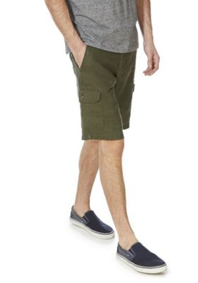 F&F Linen Cargo Shorts Khaki 44 Waist