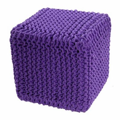 Homescapes Cotton Mauve Knitted Cube Footstool