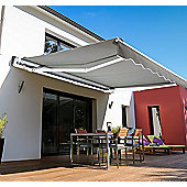 Outsunny 4m x 3m Garden Awning with Winding Handle in Grey