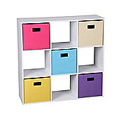 9-Cube Organizer/Bookshelf/Storage Cabinet With 5 Canvas Bins-White