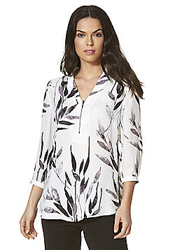 Roman Originals Leaf Print Y-Neck Top - Ivory