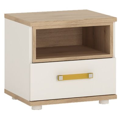 4KIDS 1 drawer bedside cabinet in light oak and white high gloss with orange handles