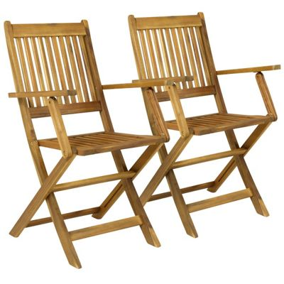 Charles Bentley Pair Of Wooden Outdoor Dining Foldable Armchairs