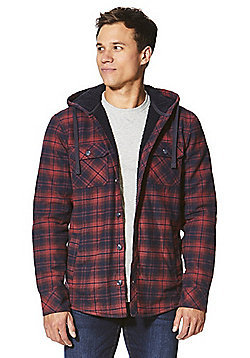 F&F Checked Thermal Fleece Lined Hoodie - Red