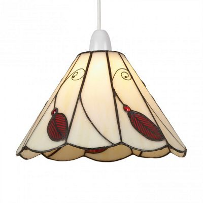 25cm Beige and Red Easy Fit Leaf Shade
