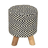 Homescapes Modern Style Black and Natural Diamond Jute Footstool