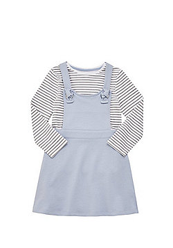 F&F Striped Long Sleeve T-Shirt and Pinafore Dress Set - Blue